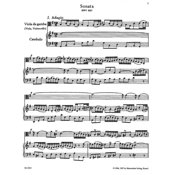 Bach J.S. - Sonatas (3) (BWV 1027 - 1029) (orig vadg) (G mag, D maj, G min)
