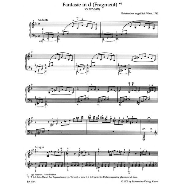 Mozart Wa Fantasy D Minor K397 385g Urtext