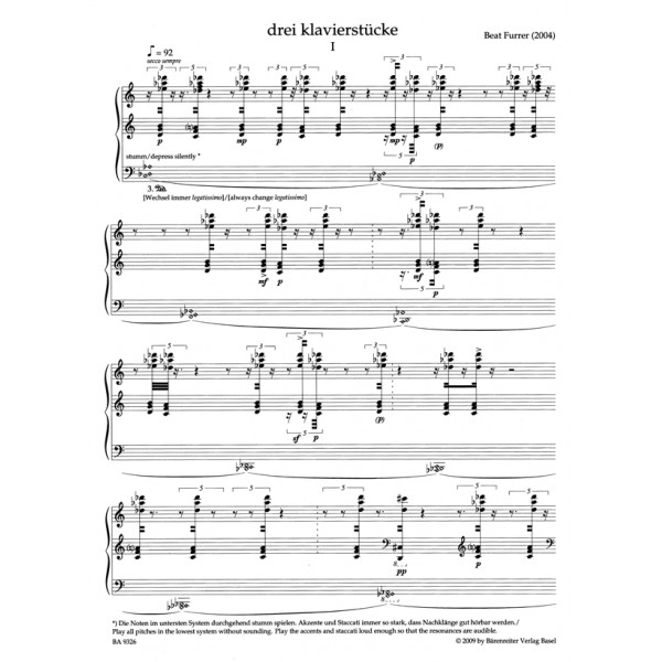 Furrer B. - Piano Pieces (3) (2004).