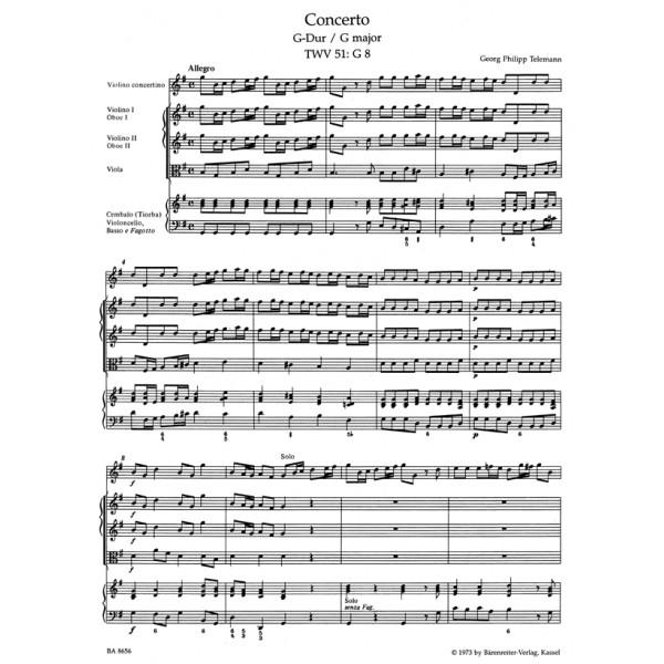 Telemann G.P. - Concerto for Violin in G (TWV 51: G8) (Urtext).
