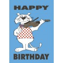 Cat playing Violin: Birthday Card - Artist: Barry Lee