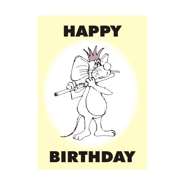 Mouse Playing Flute Birthday Card
