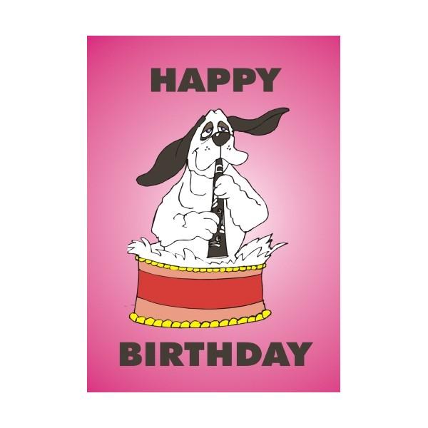 Dog Playing Clarinet Birthday Card