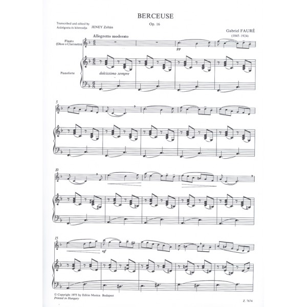 Fauré, Gabriel - Berceuse - for flute (oboe or clarinet) and piano