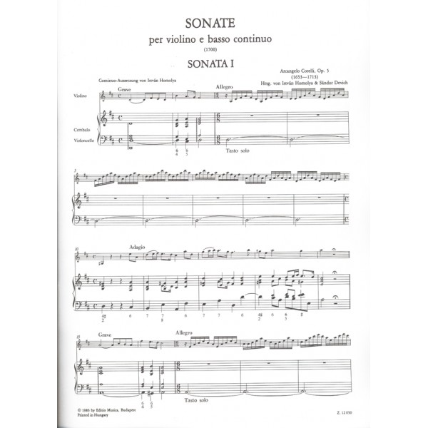 Corelli, Arcangelo - 12 sonate per violino e basso continuo