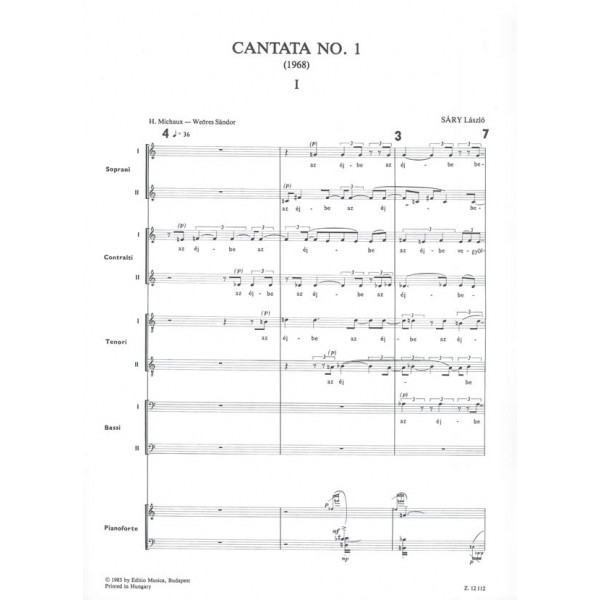 Sáry László - Cantata No. 1 - for soprano solo, chamber chorus, flute, violin, piano and cimbalom