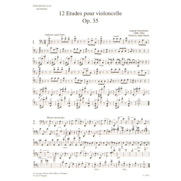Franchomme, Auguste - 12 Etudes - (violoncello II ad lib.)