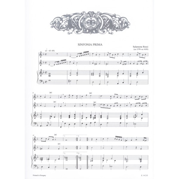 17th-century Italian Chamber Music - for two melody instruments and continuo