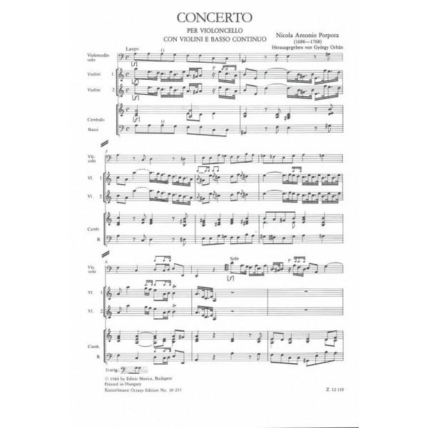 Porpora, Nicola - Concerto In La Minore - per violoncello solo, con violini e basso continuo