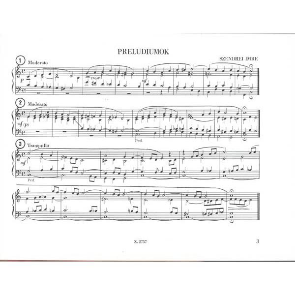 Szendrei Imre - Organ Compositions - Preludes for Organ or Harmonium