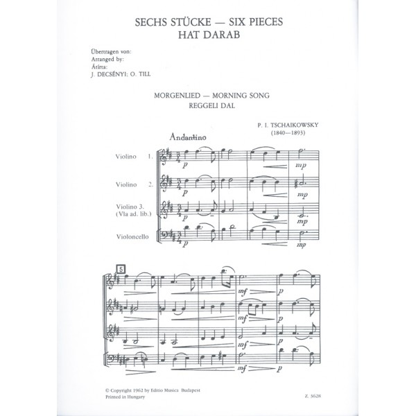 """Tchaikovsky, P. I. - Six Pieces - from the Childrens Album"""""""""""