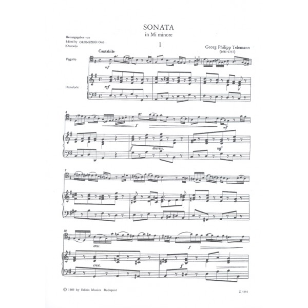 Telemann, Georg Philipp - Sonata In E Minor
