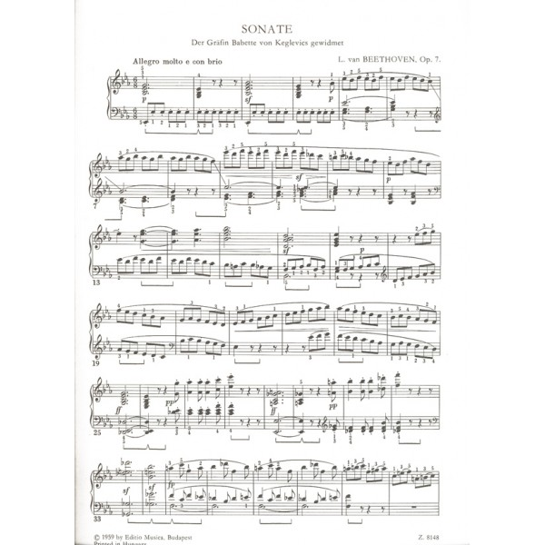 Beethoven, Ludwig van - Sonatas For Piano In Separate Editions (weiner) - op. 7, E flat major