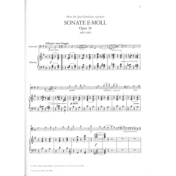 Brahms, Johannes - Sonata For Piano And Violoncello E-minor