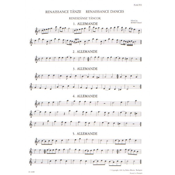 Renaissance Dances - for flute (recorder) and guitar