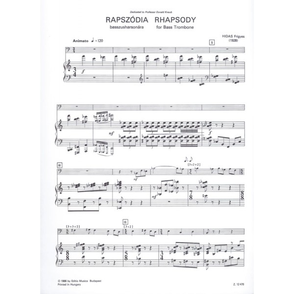 Hidas Frigyes - Rhapsody - for bass trombone and wind band