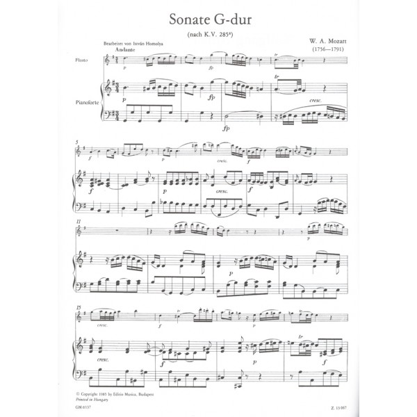 Mozart, Wolfgang Amadeus - Sonata In G Major K 285/a