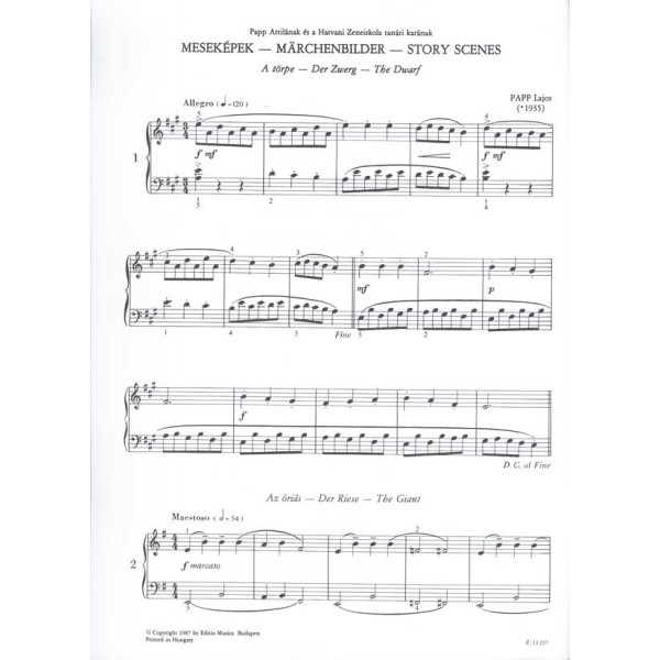 Papp Lajos - Story Scenes - for piano, for beginners