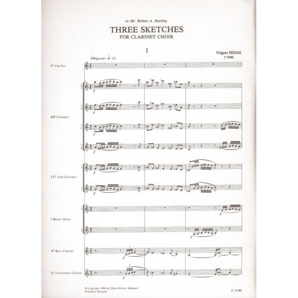 Hidas Frigyes - Three Sketches - for clarinet choir