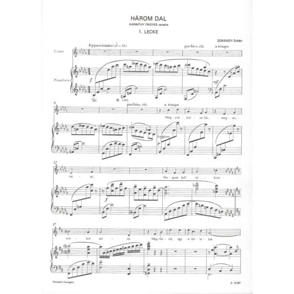 Zorándy Z. - Three Songs With Piano Accompaniment, To Poems By F. Karinthy