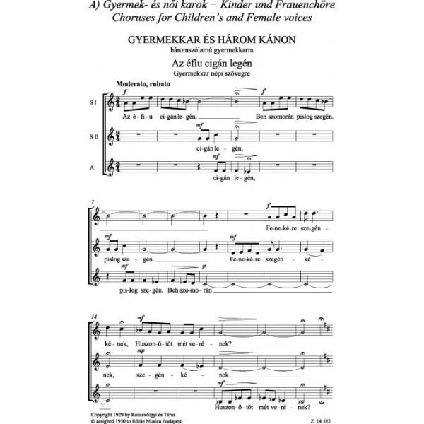 Veress Sándor - Choral Works I - Choruses For Children_s, Female And Male Voices