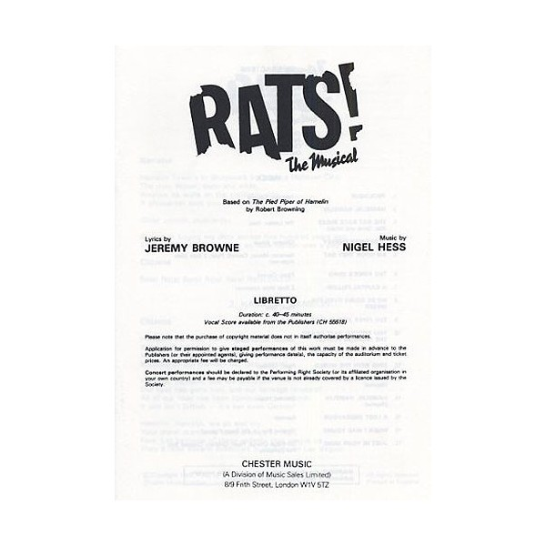 Nigel Hess: Rats! The Musical (Libretto) 10+ Copies - Hess, Nigel (Composer)