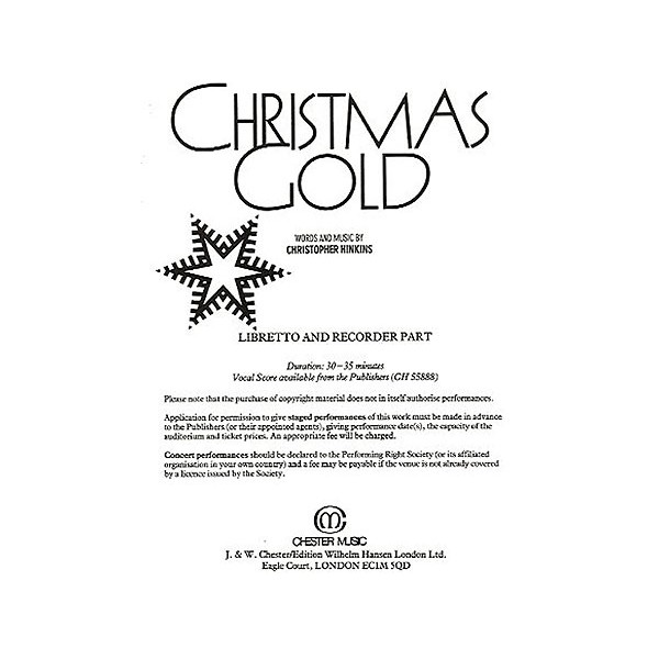 Christmas Gold Libretto and Recorder Part (10+ Copies)