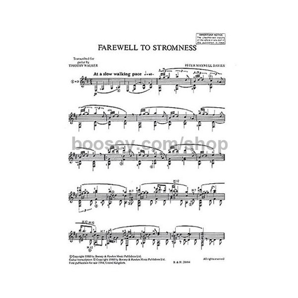 Maxwell Davies, Sir Peter - Farewell To Stromness