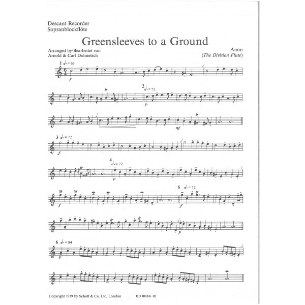 Anonymus 17th Century - Greensleeves to a Ground