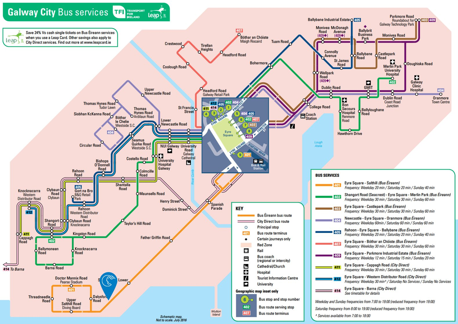 Galway City Bus Eireann Route Map
