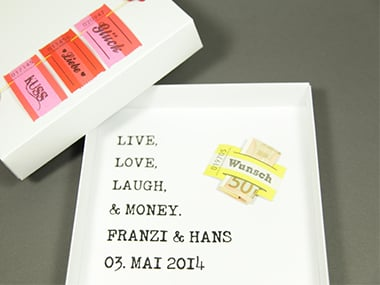 Geldgeschenk Schachtel 'live, love, laugh & money'