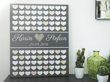 geschenkidee personalisierte herzen leinwand zum. Black Bedroom Furniture Sets. Home Design Ideas