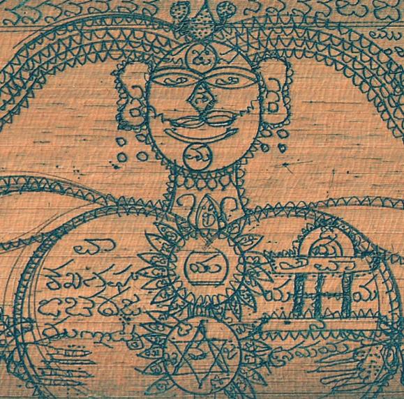 Die Göttliche Mutter Parashakti - Yantra in einem Palmblattbuch