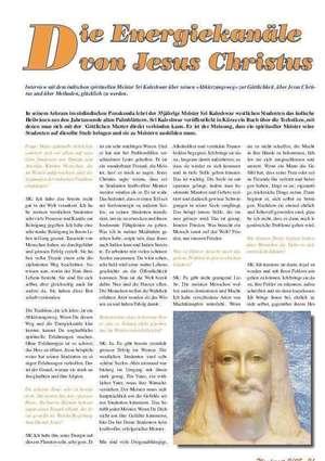 Die Energiekanäle von Jesus Christus, Artikel in WENDEZEIT - DOWNLOAD