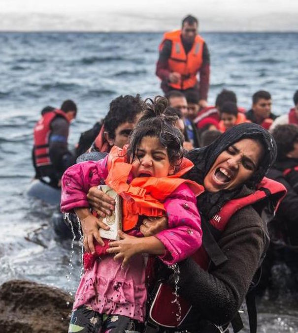 Refugees arriving at the island of Lesbos, Greece