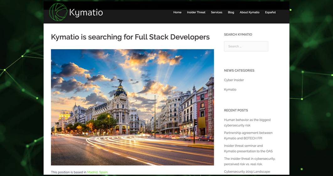 Kymatio News Searching for FullStack Developers in Madrid