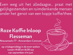 Flyer Roze Koffie Inloop