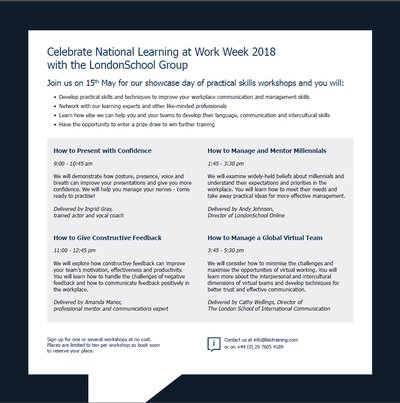National Learning at Work Week 2018