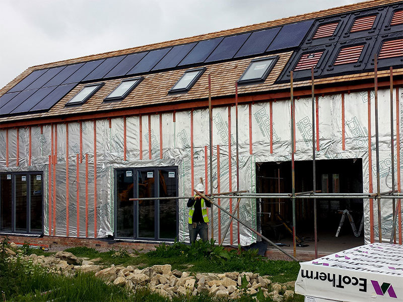 Building of the zero carbon eco home designed by Prosper Architects