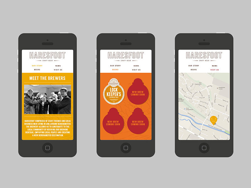 Haresfoot Brewery's new brand identity shown on their mobile friendly websites designed by Prosper