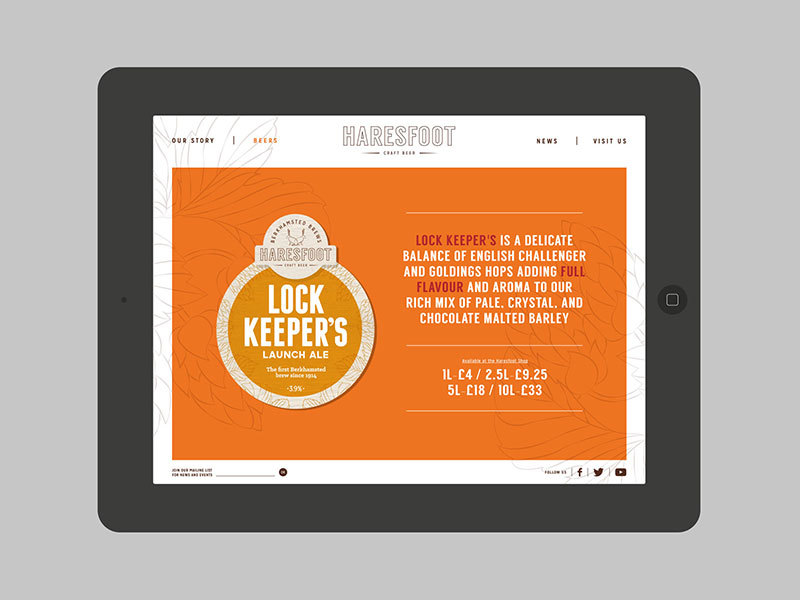 Haresfoot Brewery's new brand identity shown on their mobile website designed by Prosper