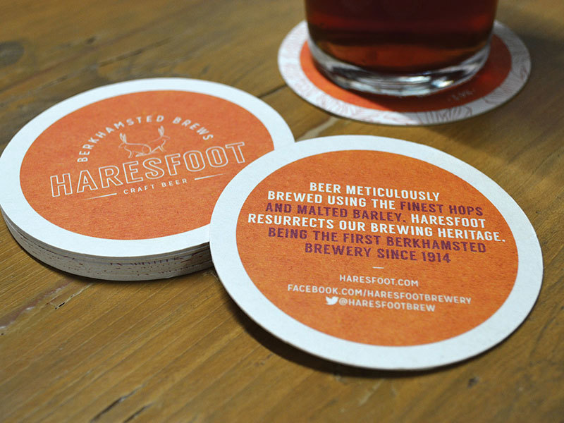 Haresfoot Brewery's new brand identity shown on their beer mats