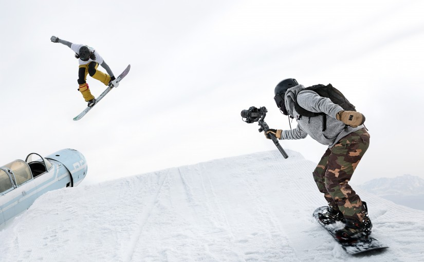 The DJI Ronin S being used in action while snowboarding