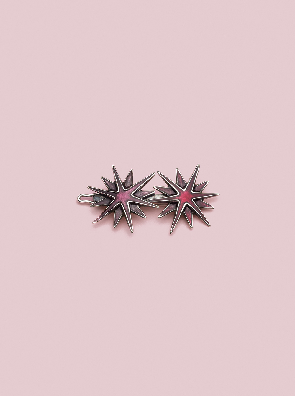 Astri Hairclip in Silver and Enamel Pink