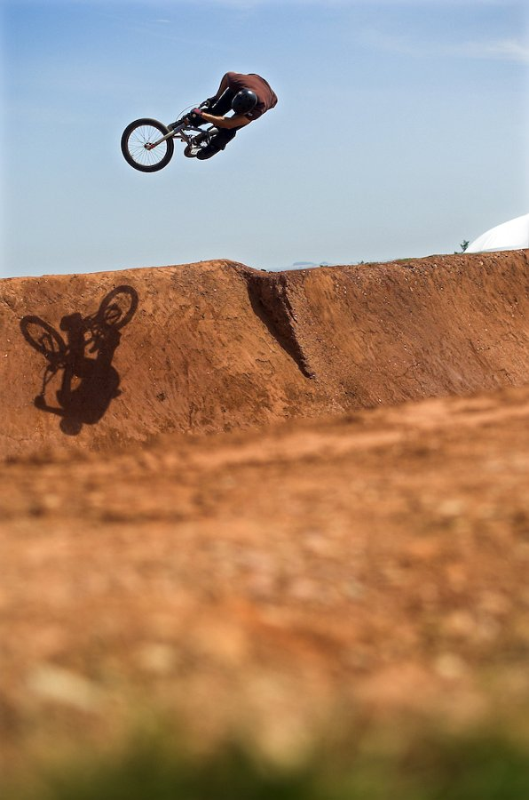 Unknown rider boosting out of the dirt pipe at Empire of Dirt 2008