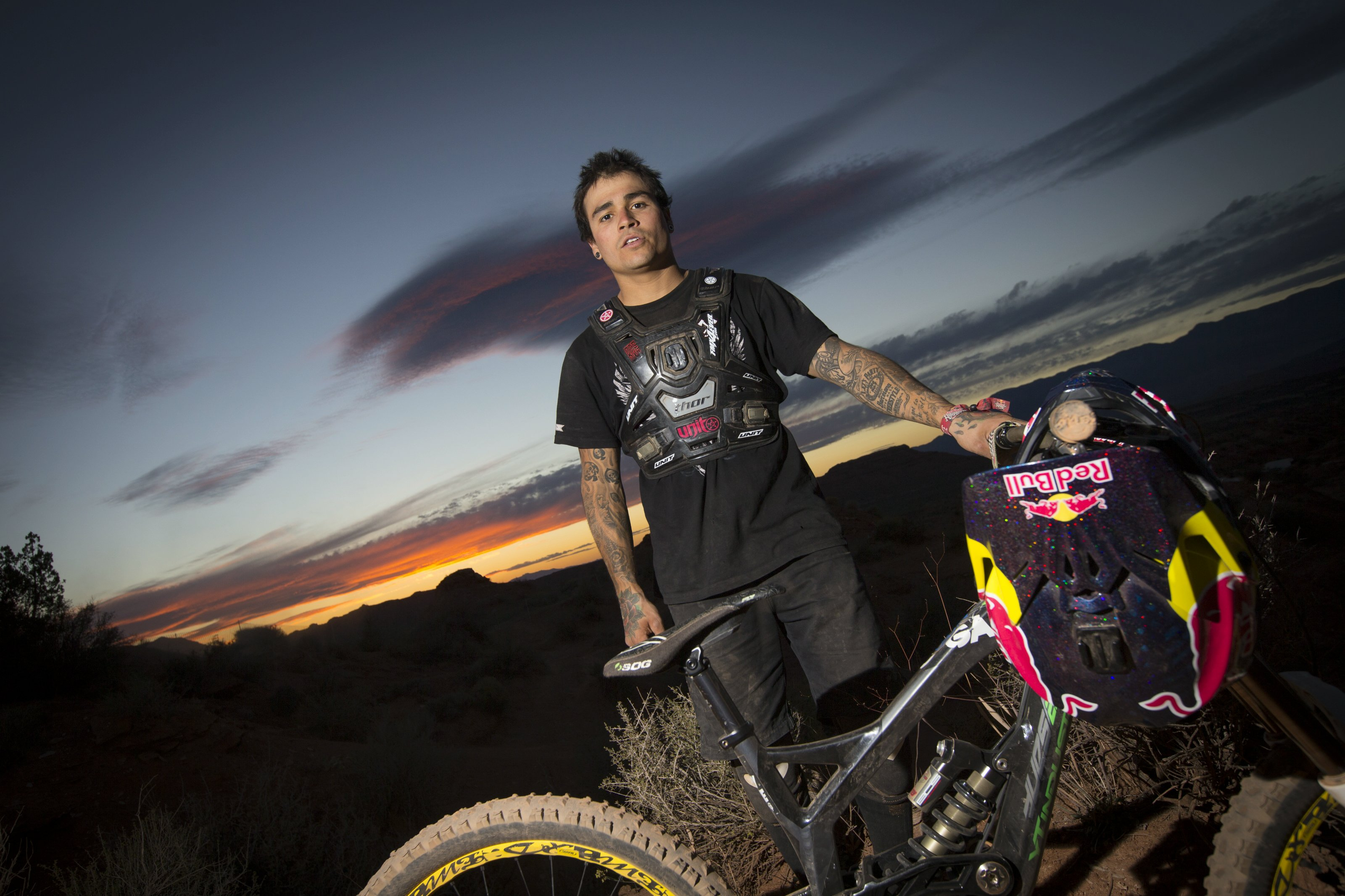 Andreu Lacondeguy poses for a portrait during Red Bull Rampage in Virgin, Utah, USA, on 08 October 2013. // Christian Pondella/Red Bull Content Pool // P-20131009-00016 // Usage for editorial use only // Please go to www.redbullcontentpool.com for further information. //
