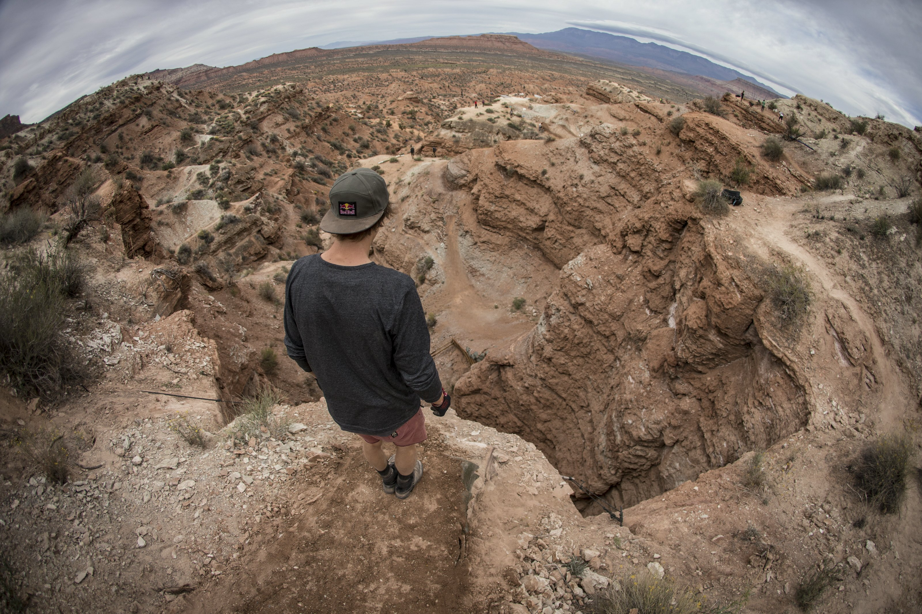 Brandon Semenuk inspects his line during Red Bull Rampage in Virgin, Utah, USA, on 08 October 2013. // Christian Pondella/Red Bull Content Pool // P-20131010-00011 // Usage for editorial use only // Please go to www.redbullcontentpool.com for further information. //