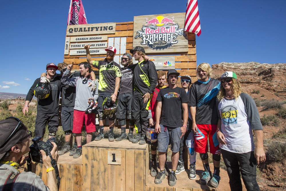 Top 12 qualifiers celebrate during Red Bull Rampage qualifiers in Virgin, Utah, USA, on 11 October 2013. // Christian Pondella/Red Bull Content Pool // P-20131013-00039 // Usage for editorial use only // Please go to www.redbullcontentpool.com for further information. //