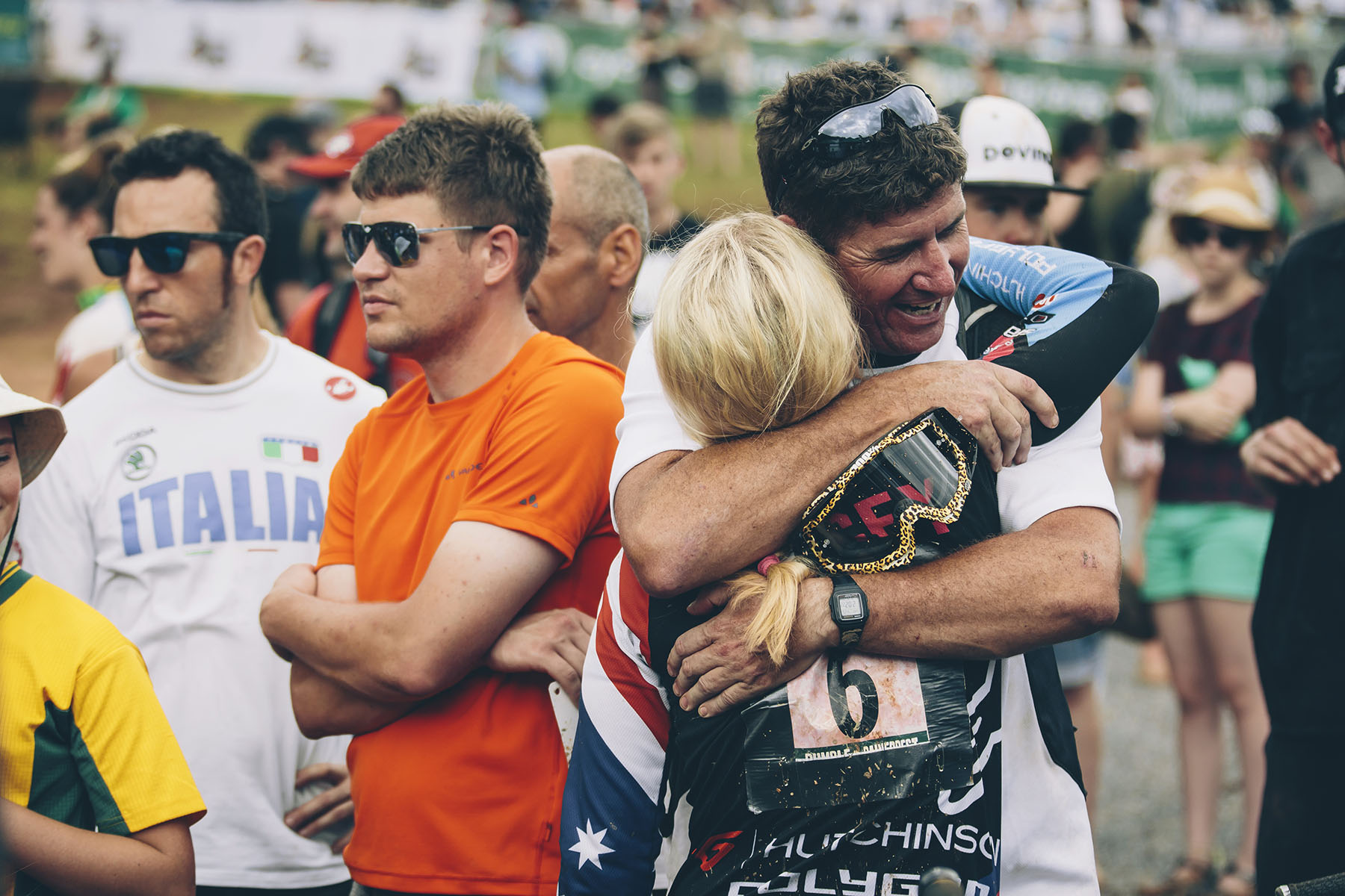 Racing in front of so many family members is never an easy thing, but the feeling of coming down in a good place and it being over most be pretty good too. Tracey celebrates her podium amongst her friends and family.