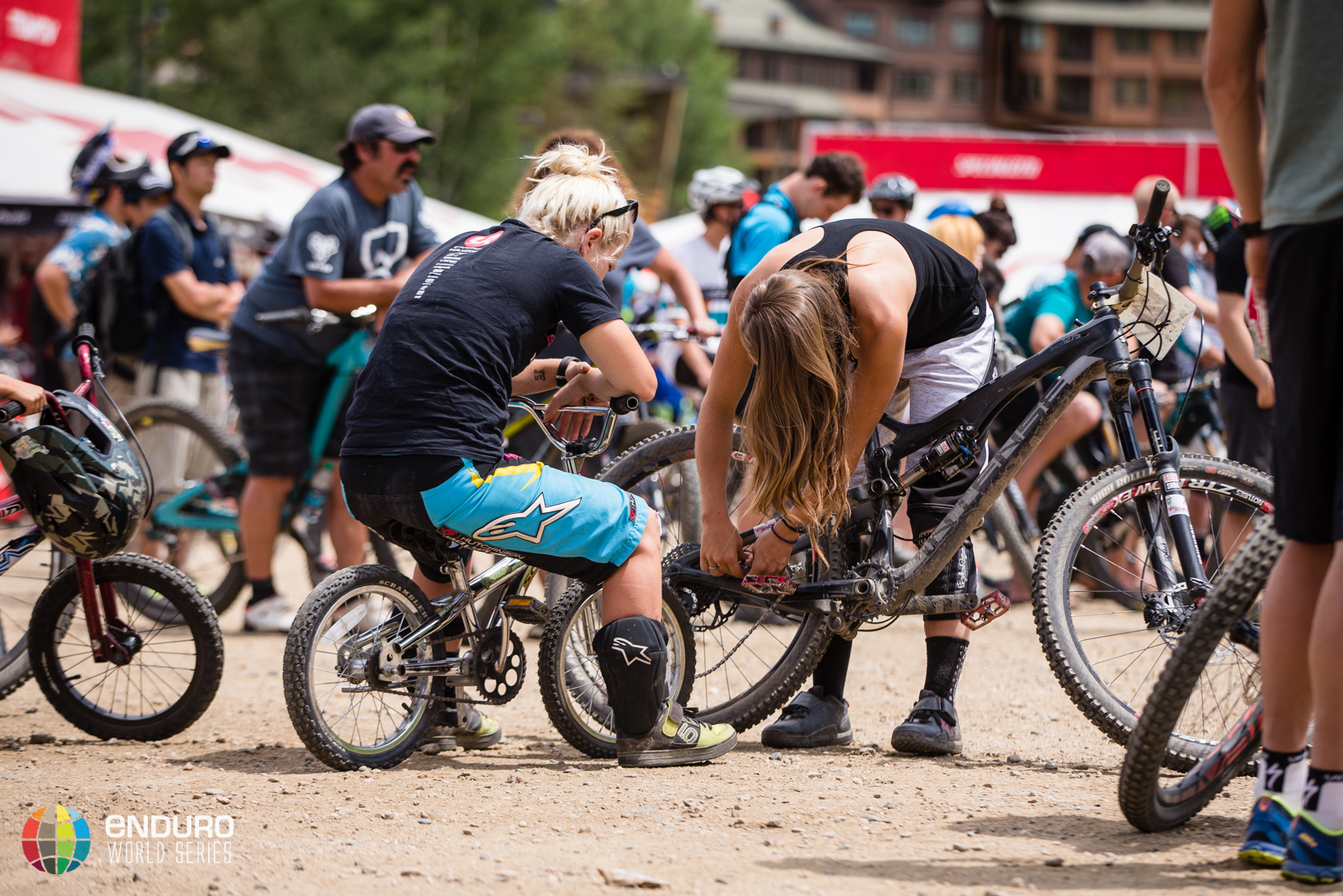 Tracey Hannah relaxing after an impressive sixth place. EWS 5 2014 Winter Park. Photo by Matt Wragg